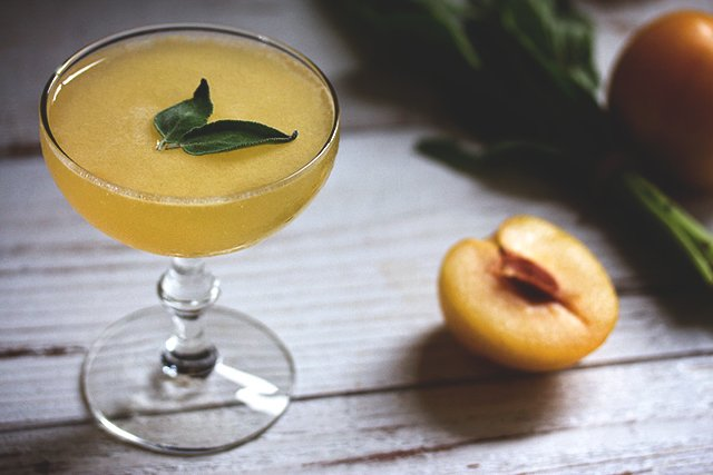 Golden Plum and Sage Cocktail // HonestlyYUM