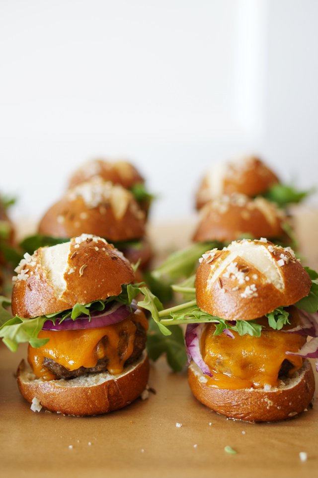 Pretzel Slider Buns with Caraway Seeds