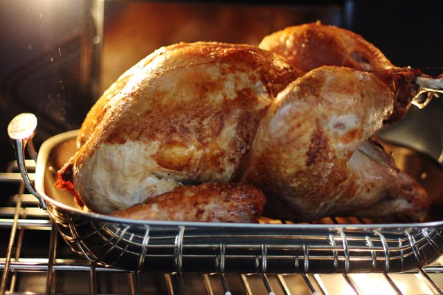 With oven preheated to 425 degrees, roast the turkey for 30 minutes.