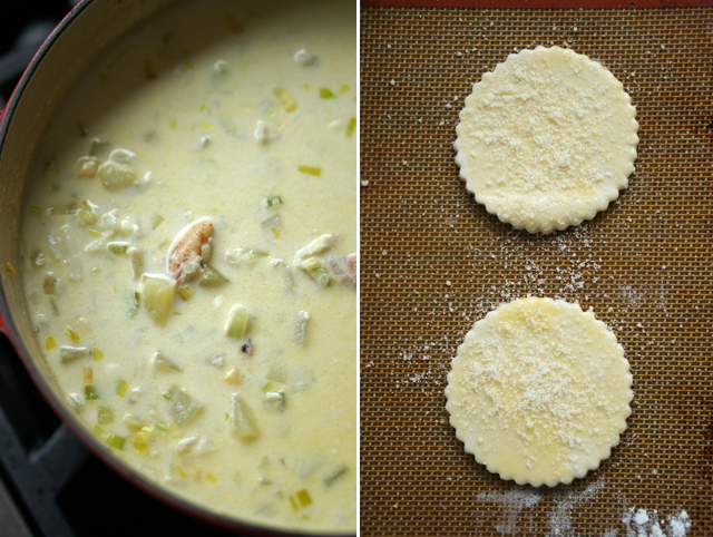 Crab chowder with puff pastry