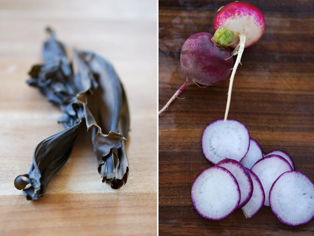 Seaweed and radishes