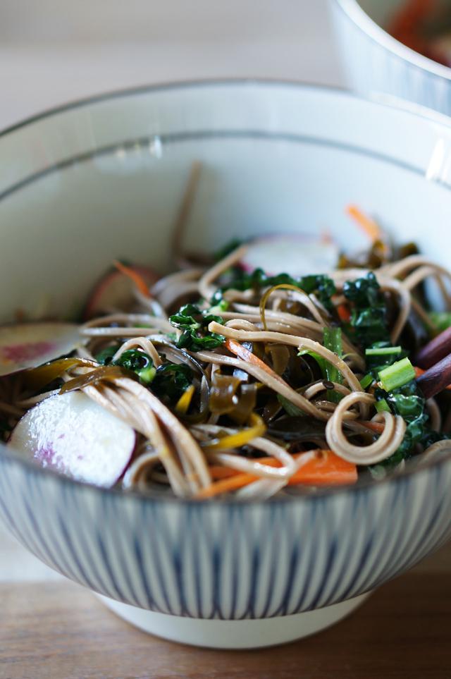 Soba salad tossed