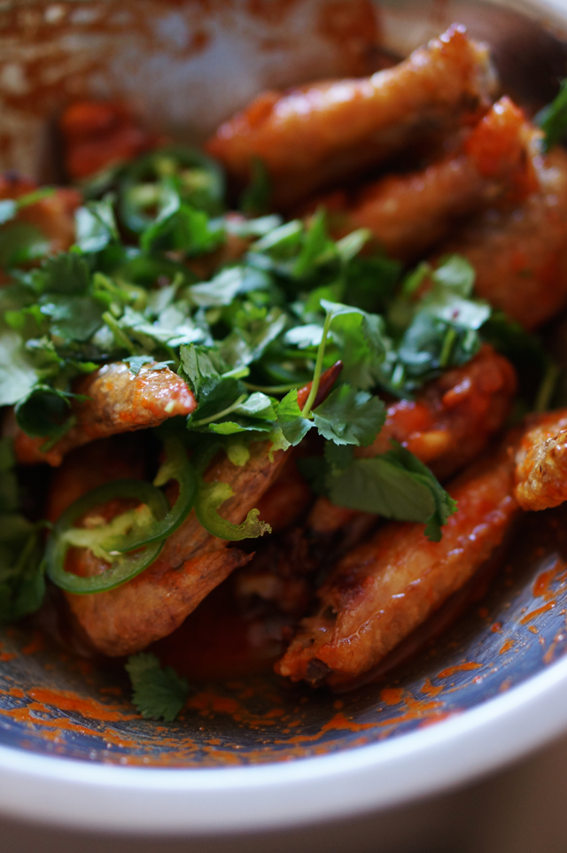 Sriracha chicken wings with cilantro