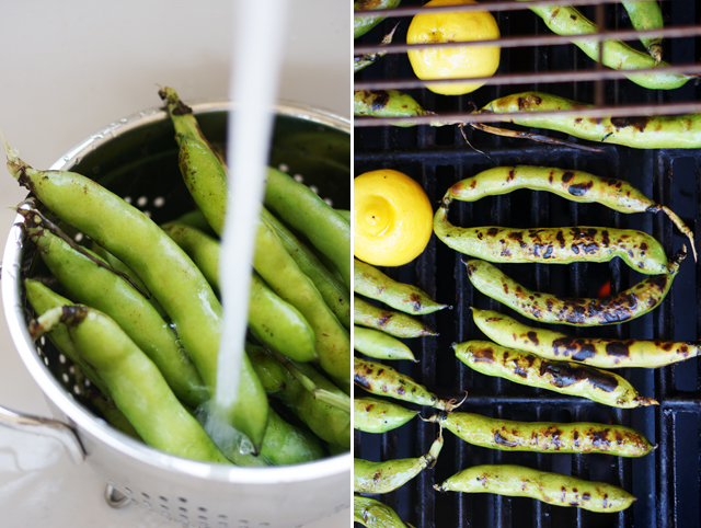 Grilling fava beans