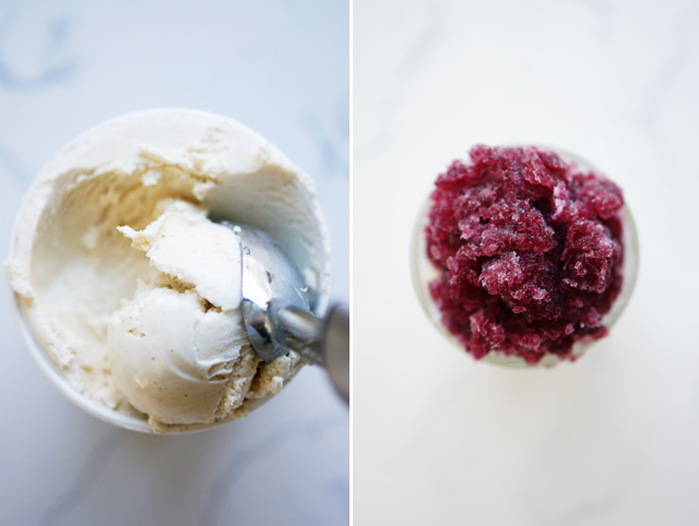 Red wine granita and vanilla ice cream