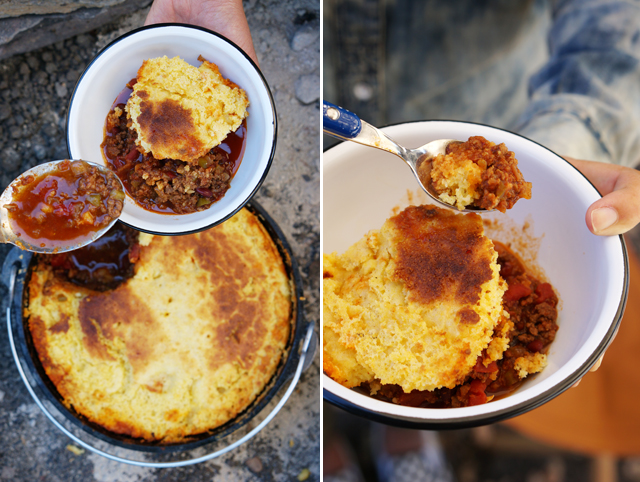 Camp chili with corn bread