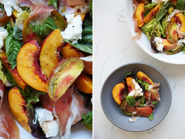 Superalimentos Ensalada nectarinas y espinacas