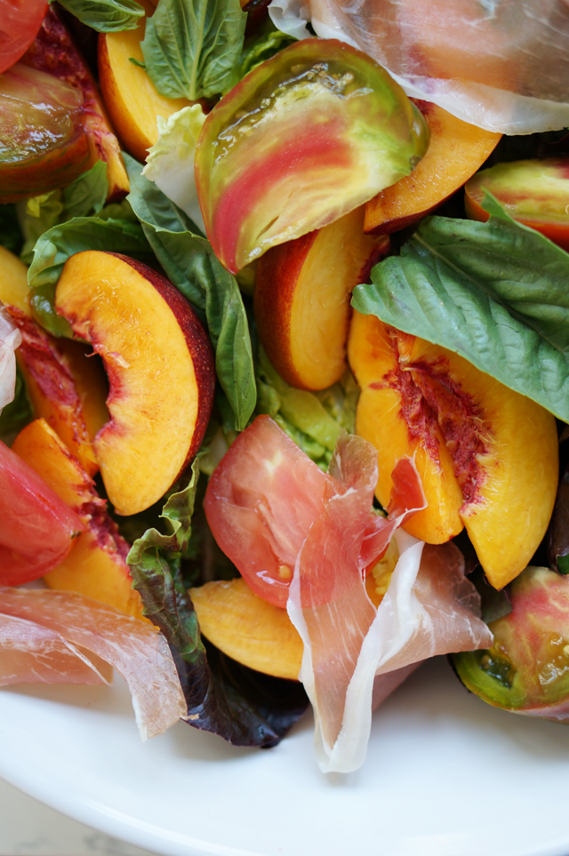 Nectarines, tomatoes, proscuitto