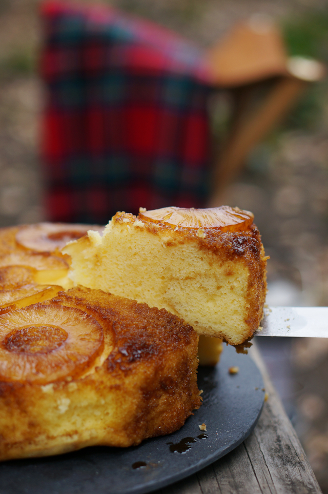 Pineapple upside-down cake slice