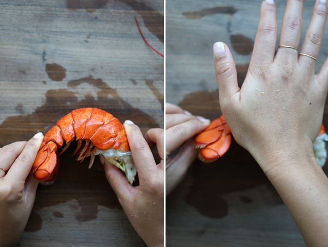 Removing lobster tail