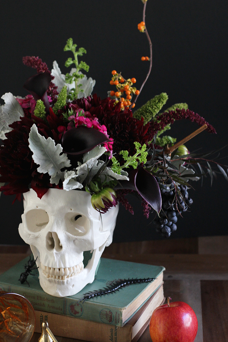 Diy floral skull centerpiece honestlyyum