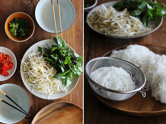 Noodles and ingredients