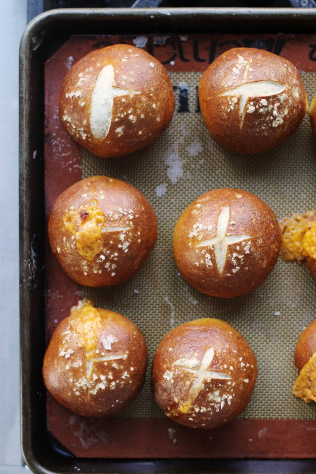 Baked stuffed pretzel buns