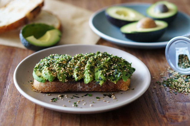 Avocado toast with furikake and togarashi