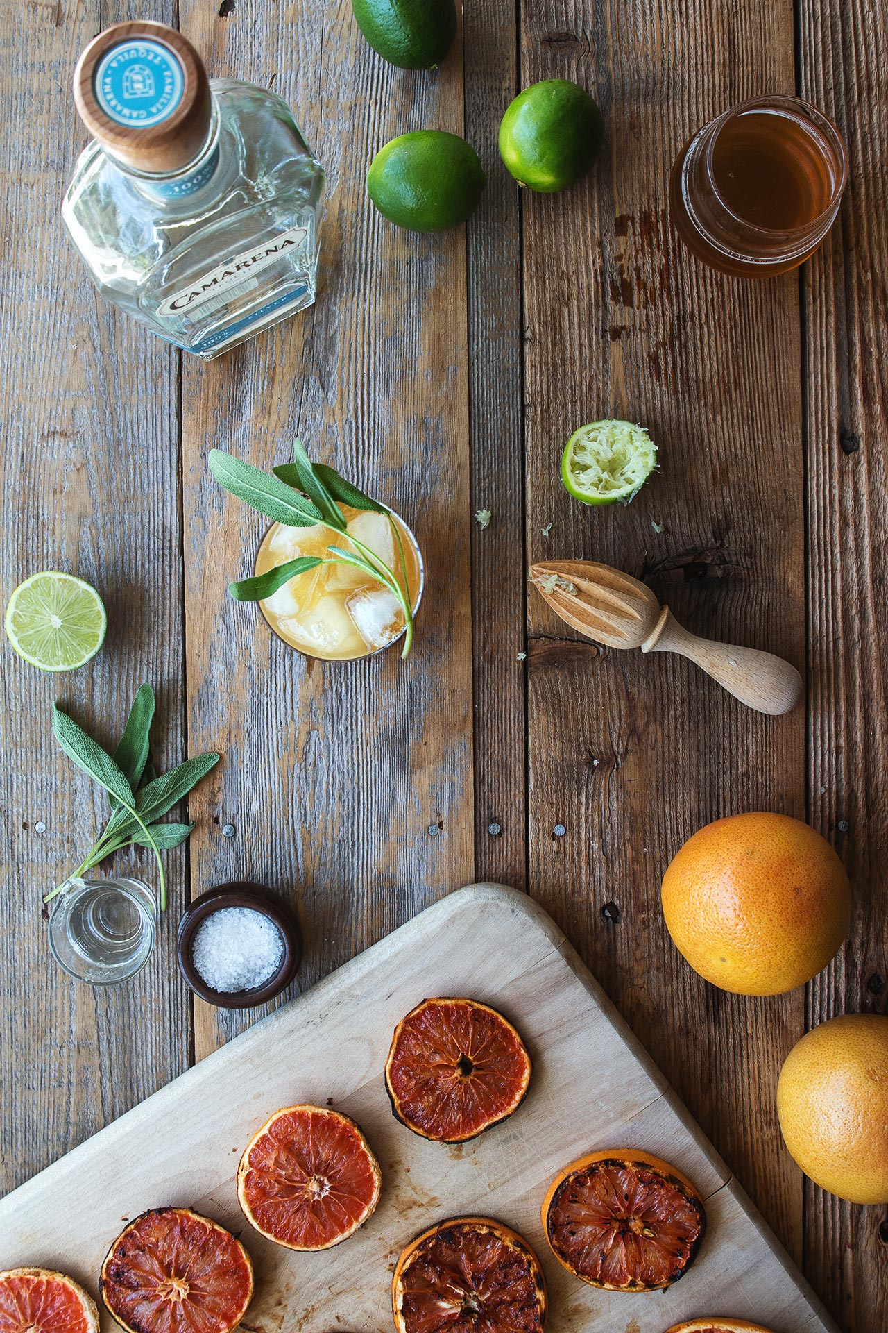Grilled Grapefruit & Sage Cocktail | HonestlyYUM