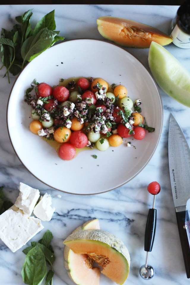 Summer Melon with Feta and Olives