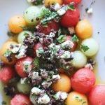 Melon, feta, olive herb salad | HonestlyYUM