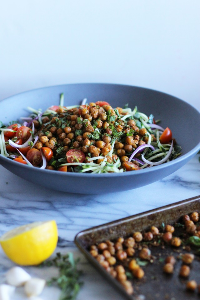 Falafel salad and garbanzo beans