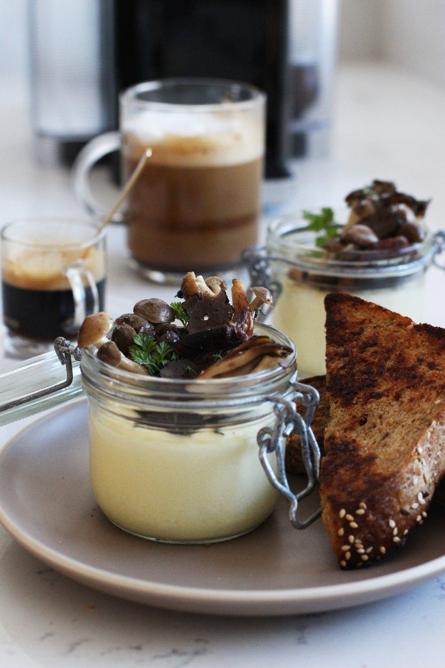 Egg custard with mushrooms
