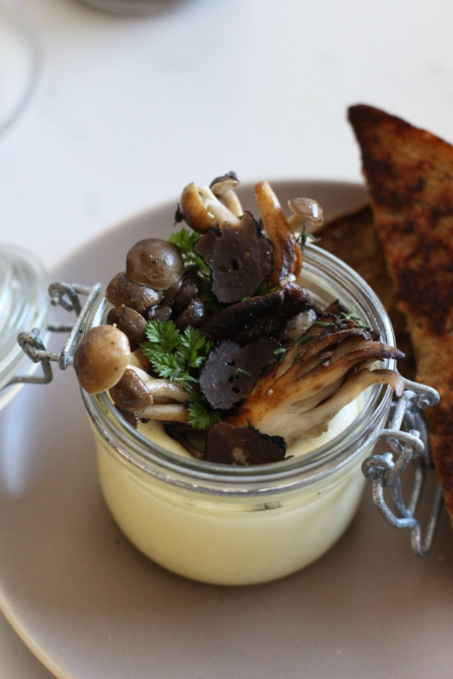 Egg parmesan custard and mushrooms