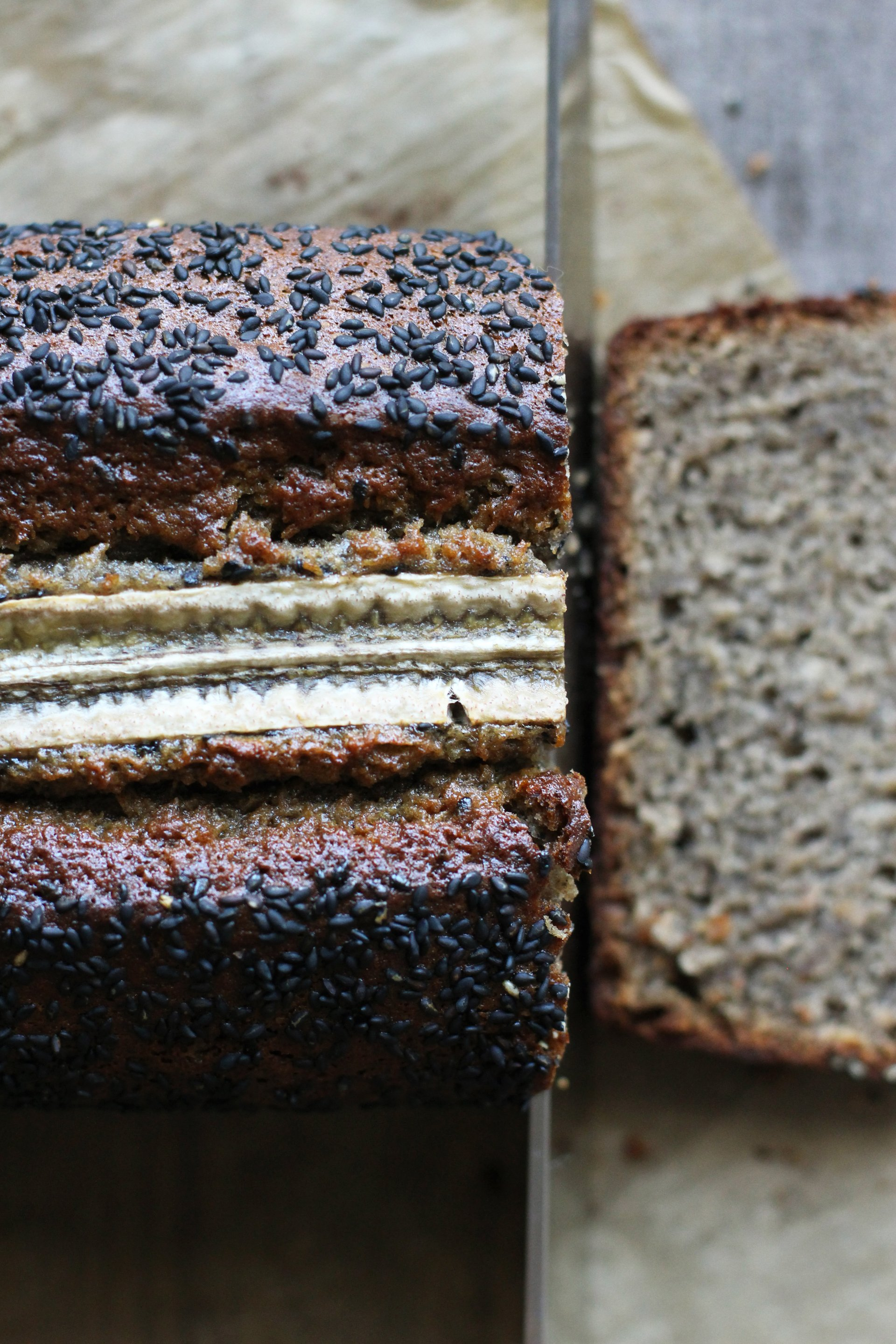 Black Sesame Banana Bread | HonestlyYUM