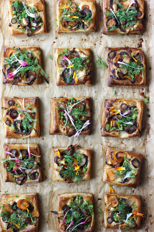 Boursin and carrot tarts | HonestlyYUM