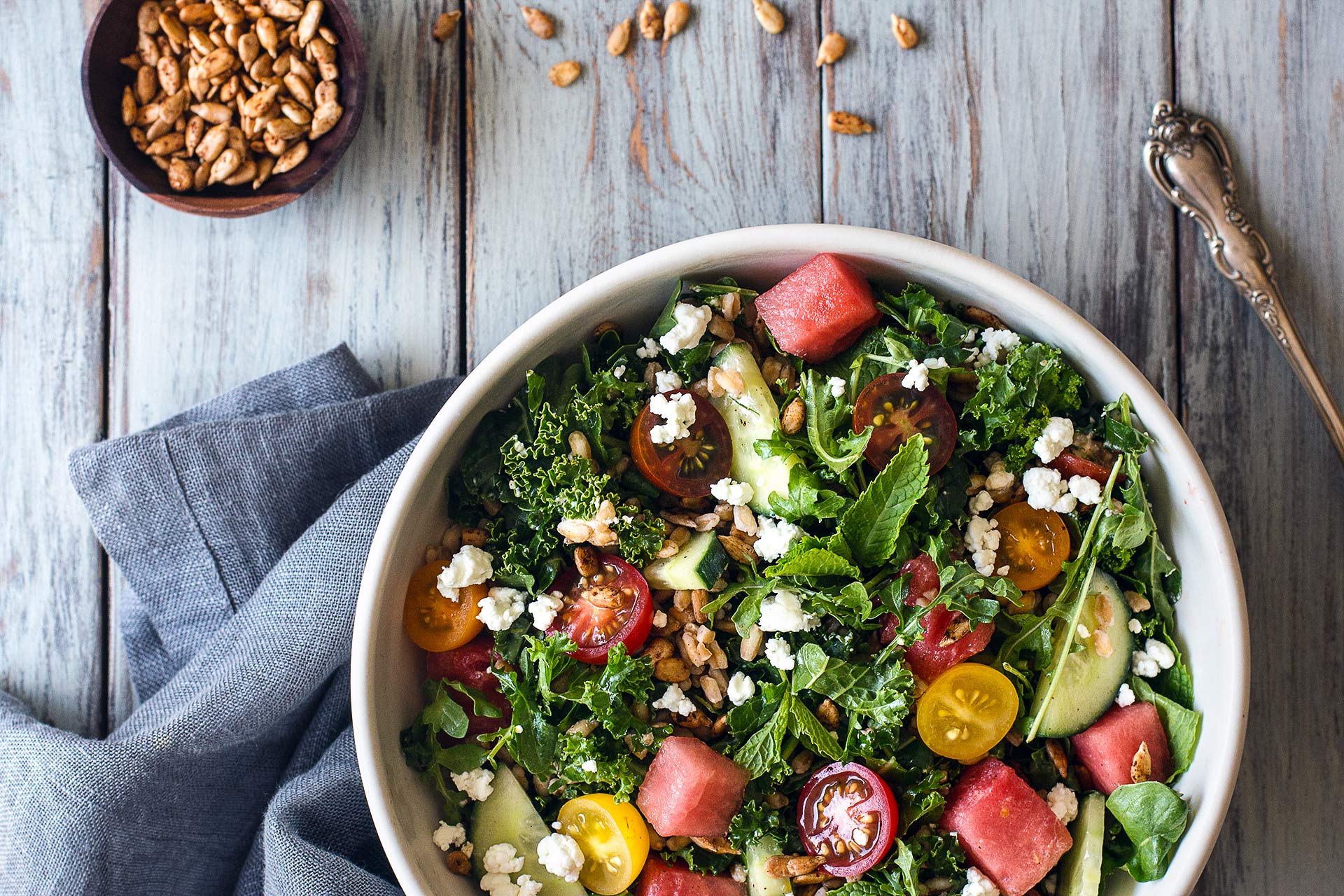 Early summer salad with kale, arugula, watermelon and farro | HonestlyYUM (honestlyyum.com)