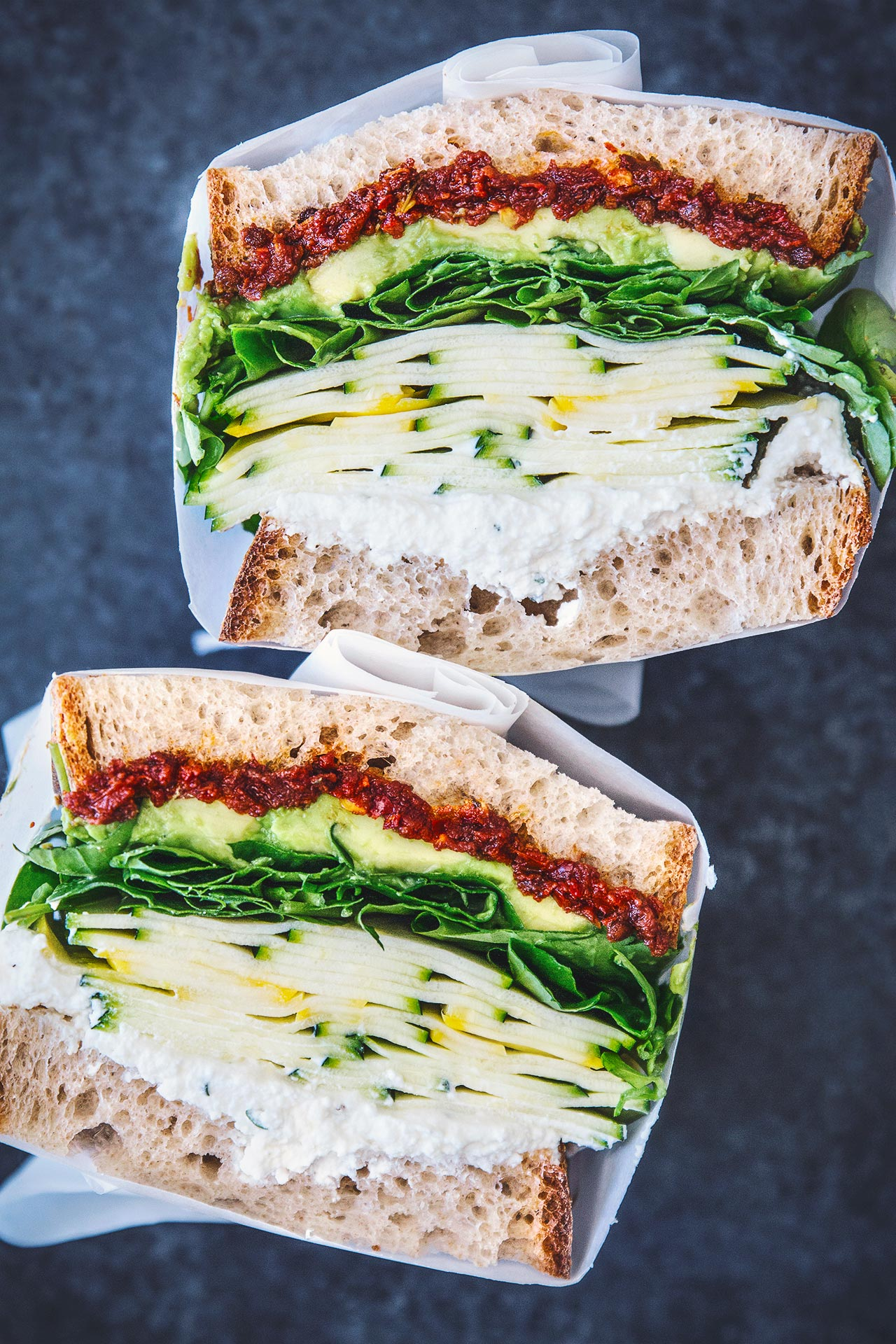 SUMMER SQUASH SANDWICH WITH SPICY SUN DRIED TOMATO & HERBED RICOTTA
