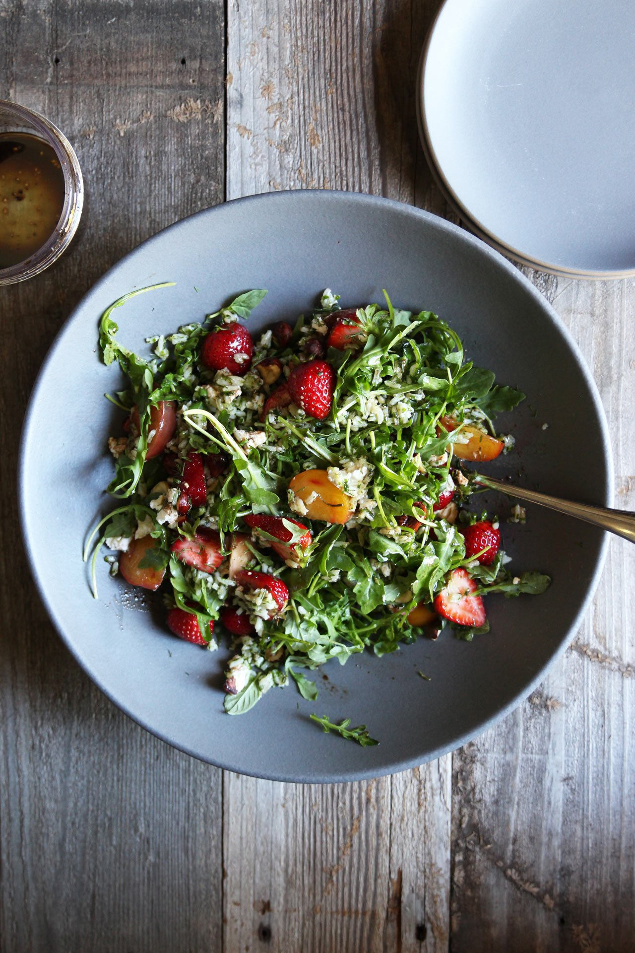 Strawberry + Herbed Rice Salad | HonestlyYUM