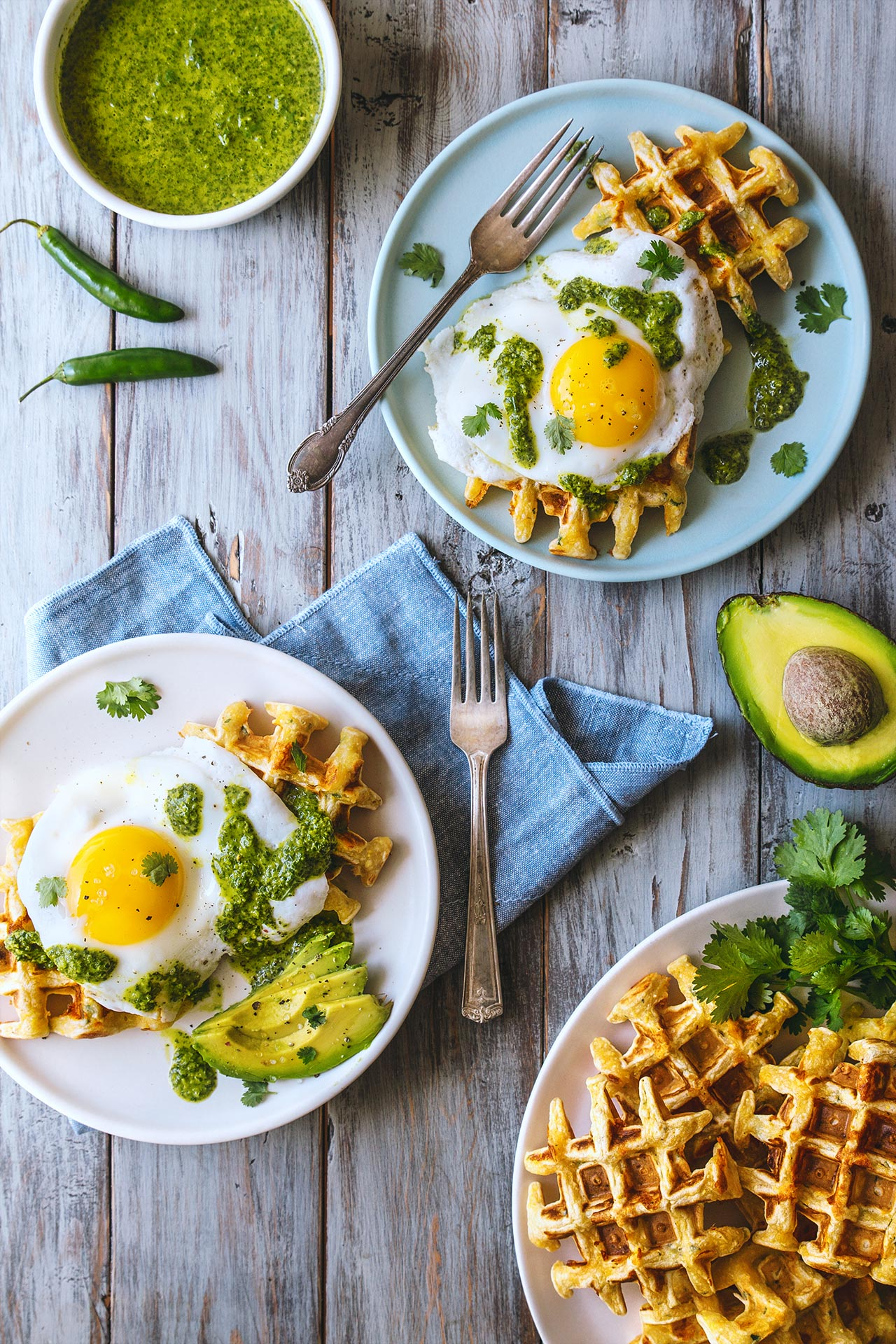 Jalapeño Cheddar Waffles w/ Fried Eggs | @HonestlyYUM | honestlyyum.com