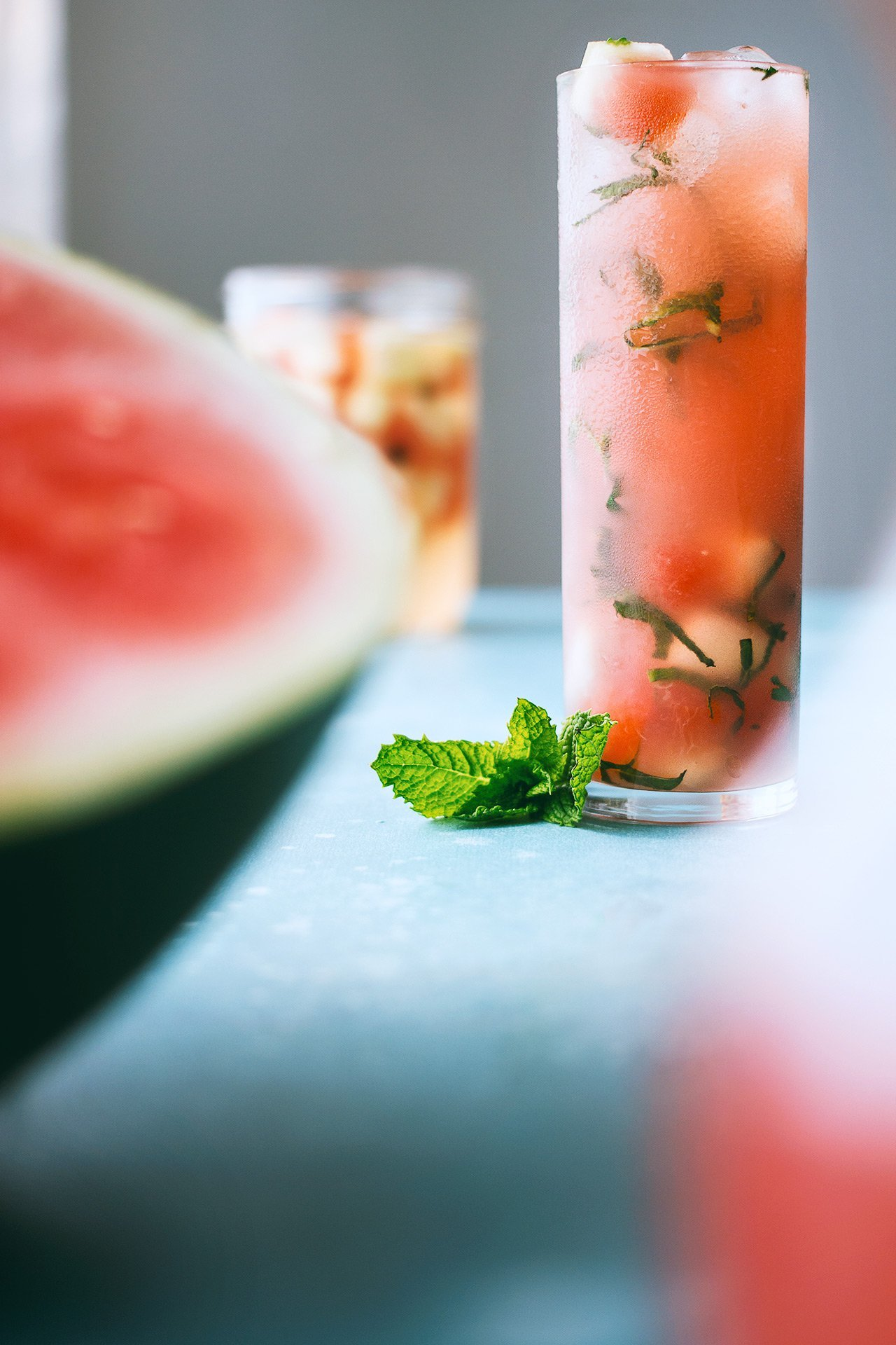 Watermelon, Fresh Herbs, & Sotol Cocktail | HonestlyYUM (honestlyyum.com) #DRINKTHESUMMER