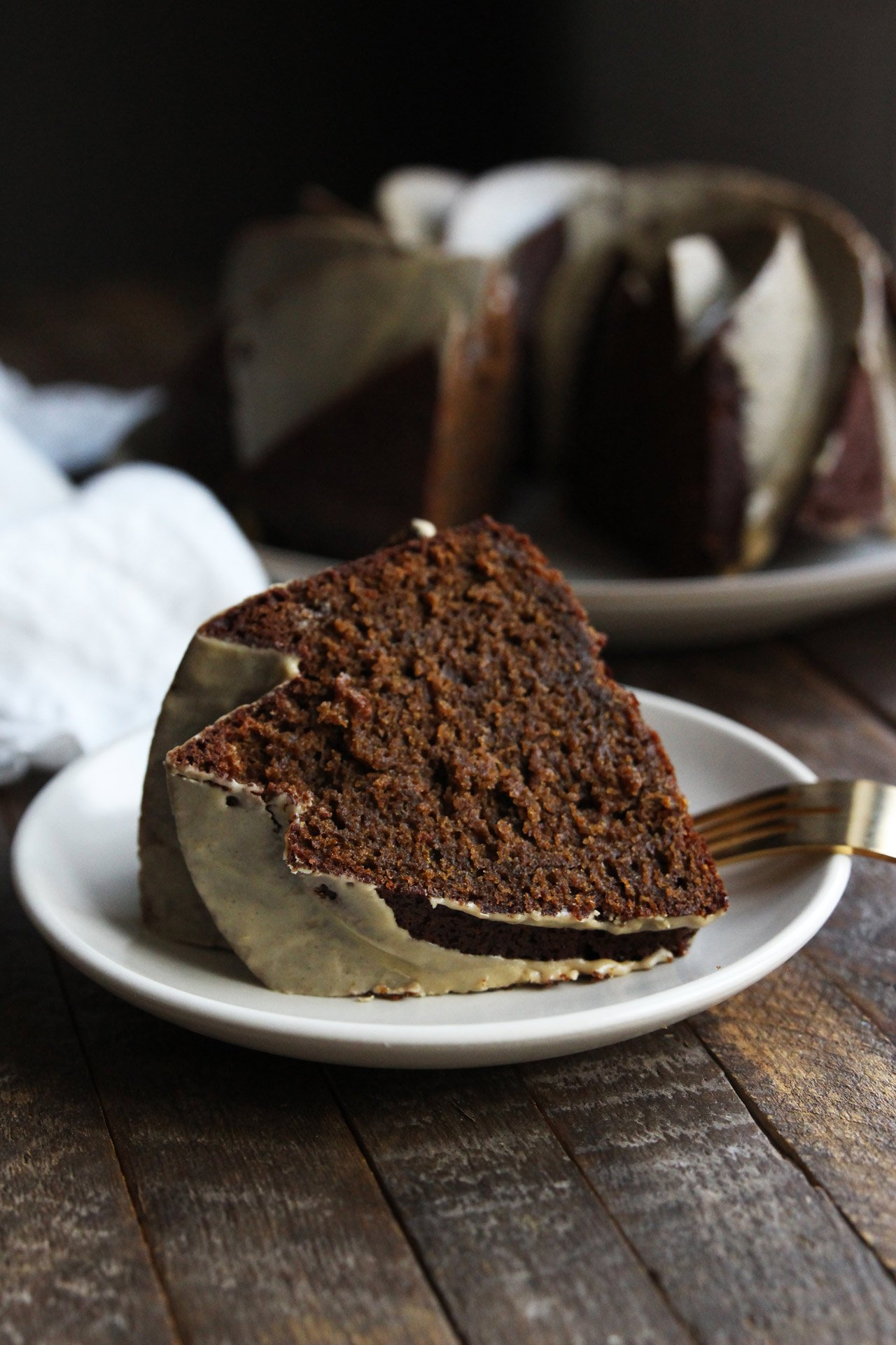 Gingerbread Bundt Cake with Coffee Cardamom Glaze
