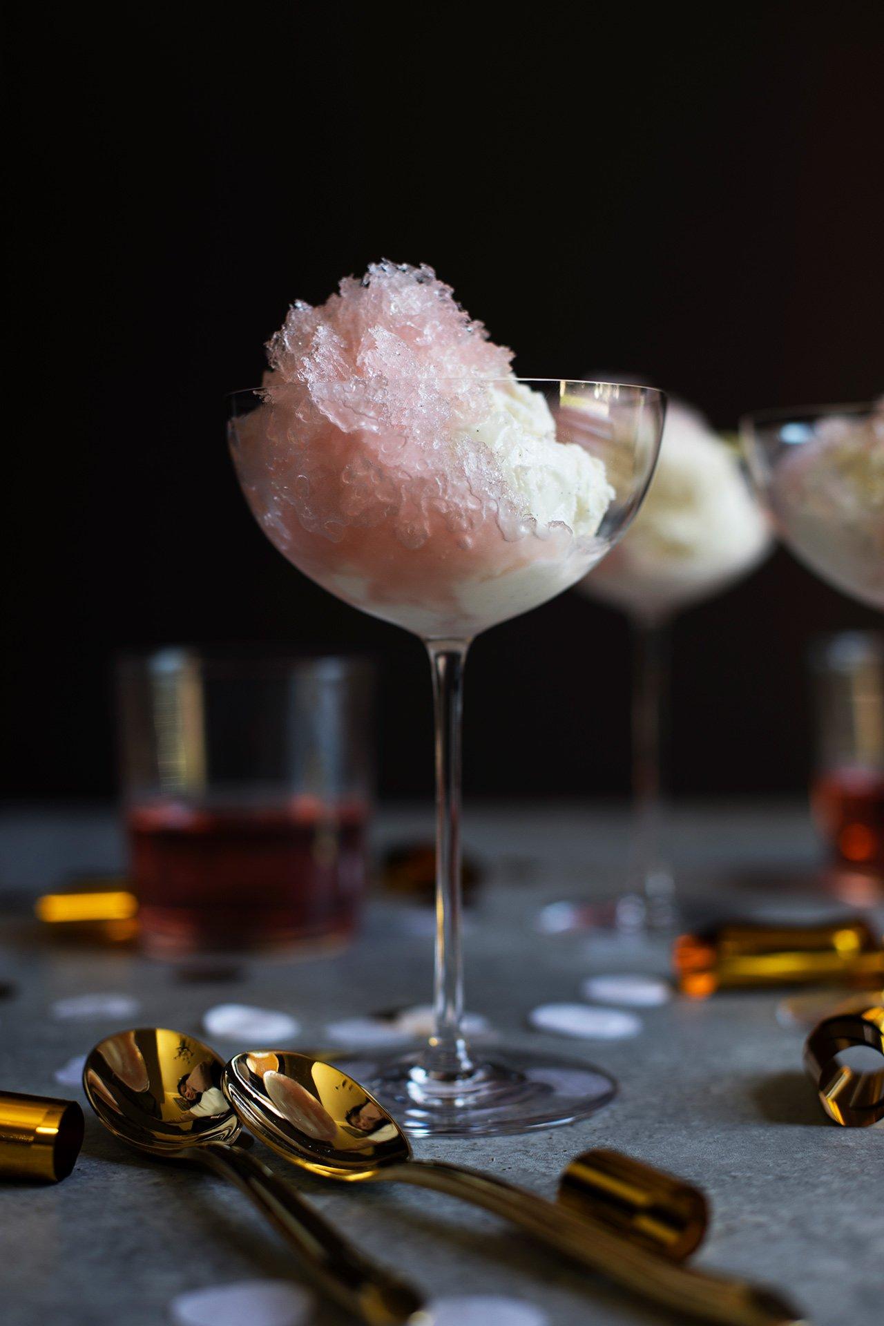 Rosé Granita with Vanilla Bean Ice Cream recipe by HonestlyYUM