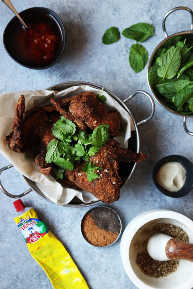 Harissa Fried Chicken Wings with Honey Cardamom Milk Slushies