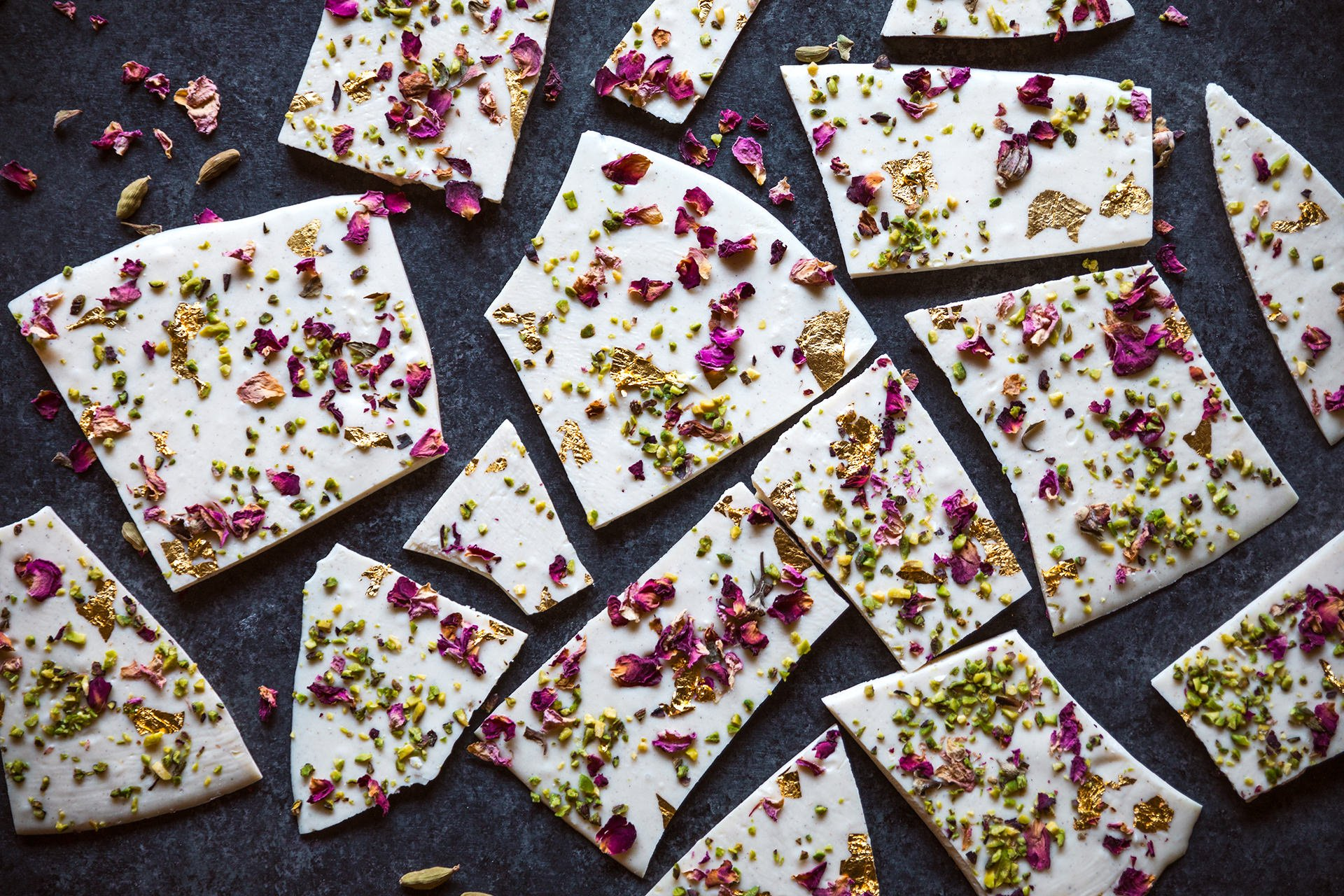 Cardamom White Chocolate Bark with Rose, Pistachio & Gold | HonestlyYUM
