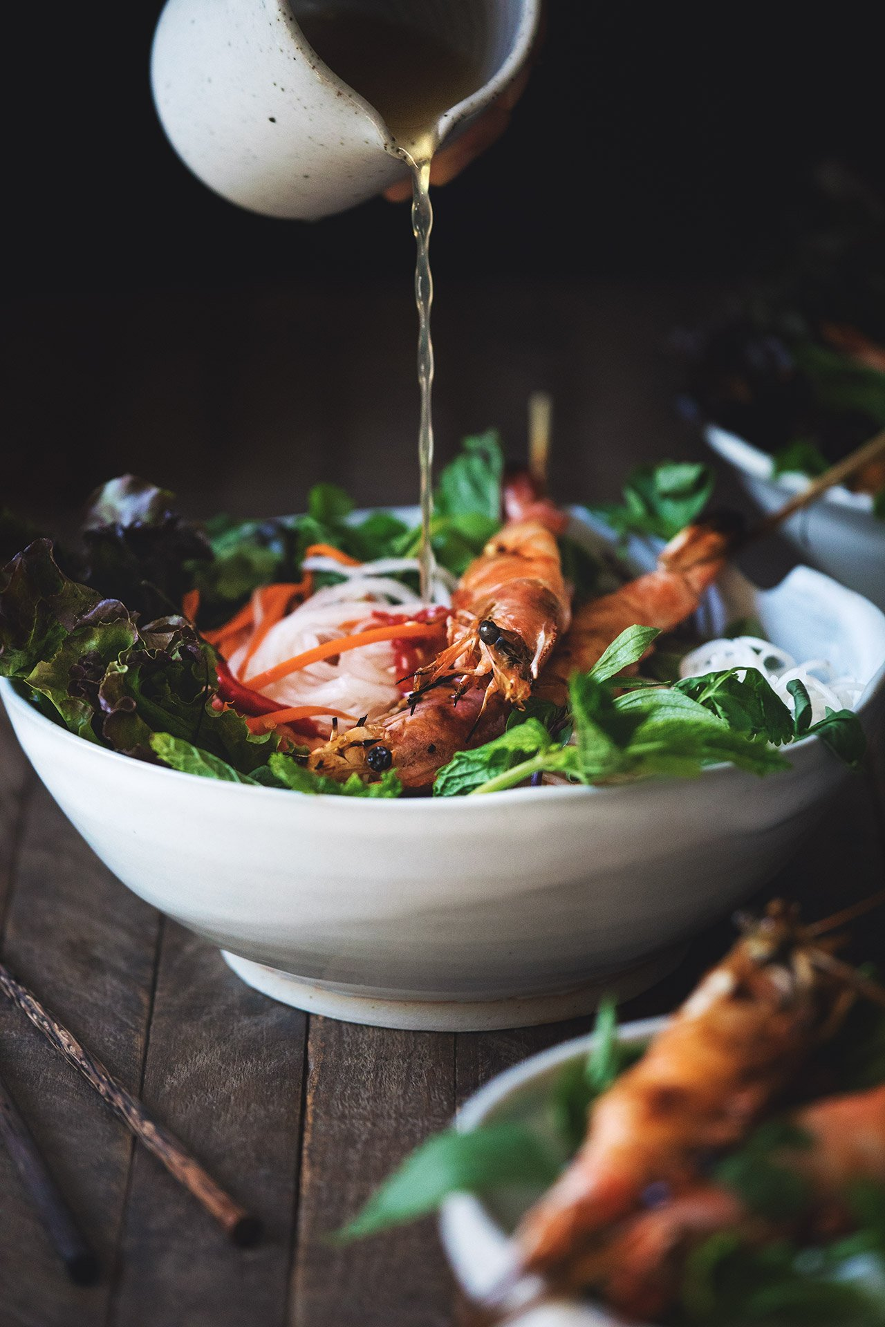 Vietnamese Grilled Prawn Noodle Salad by HonestlyYUM (honestlyyum.com)