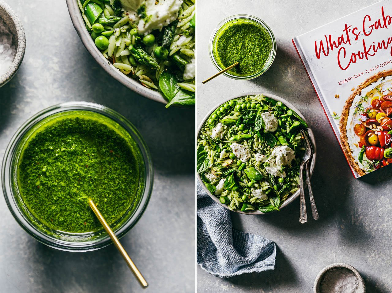 Green Orzo Salad w/ Basil Vinaigrette | HonestlyYUM (honestlyyum.com) #salad #vegetarian #recipe