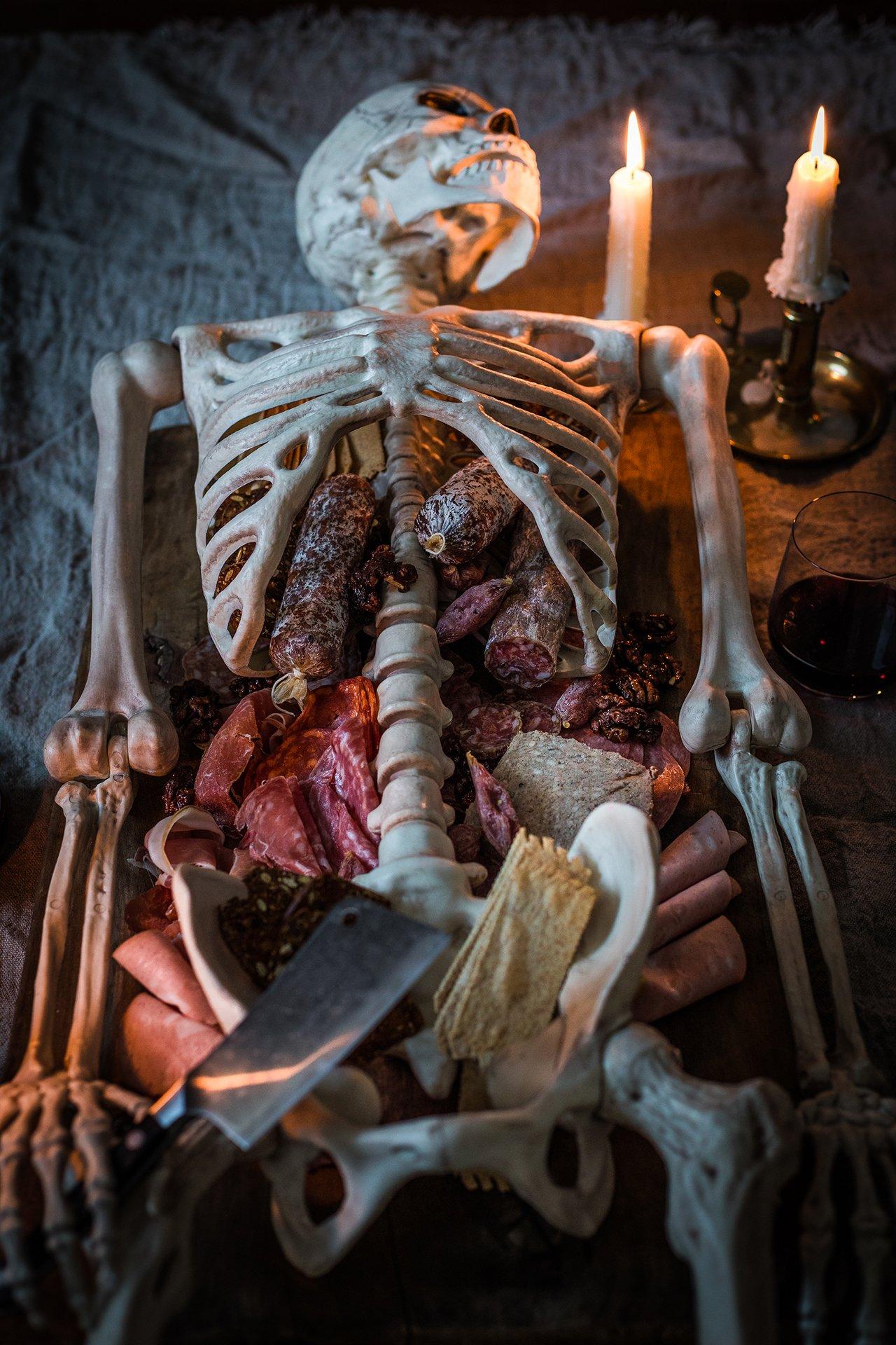 Halloween Skeleton Charcuterie Platter Honestlyyum