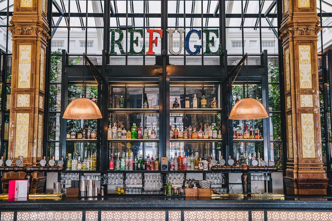 The bar at Refuge, Manchester, England.