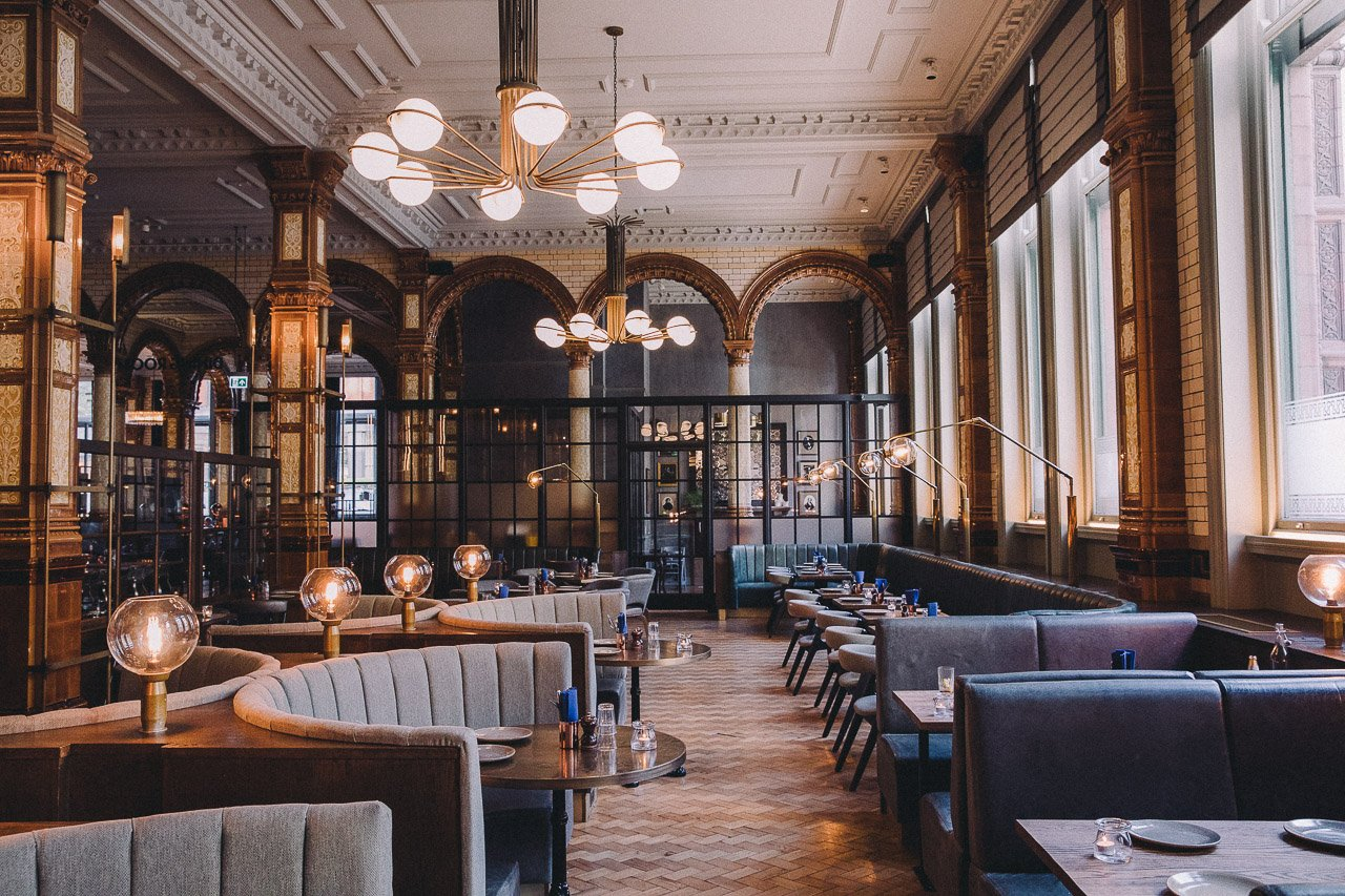 The dining room at Refuge, Manchester, England.